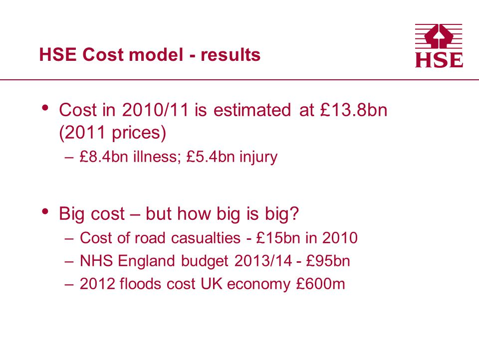 HSE Cost model - results