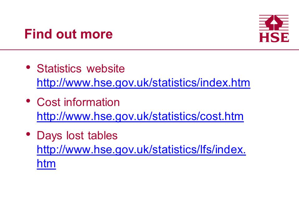 Find out more Statistics website   Cost information