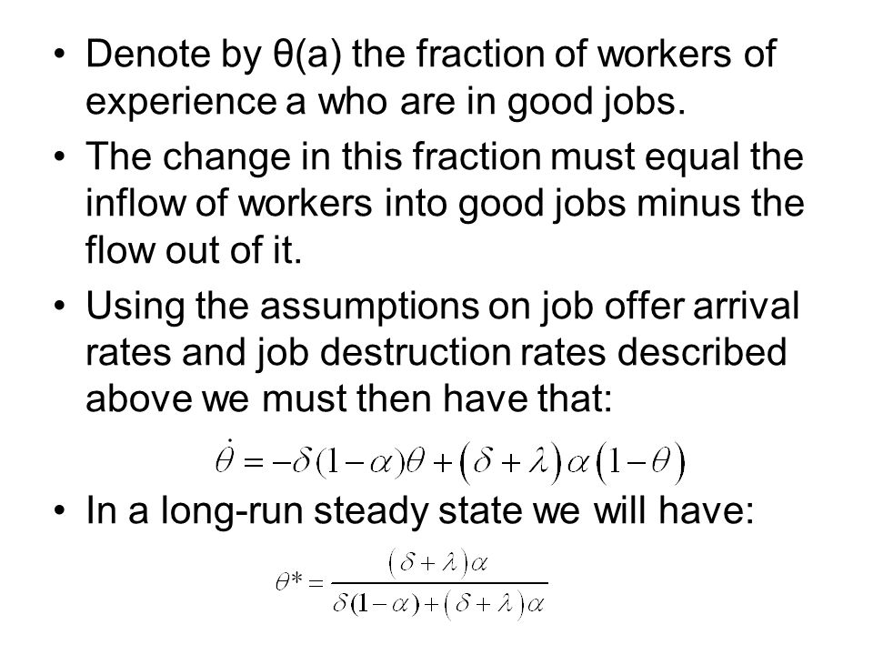 Denote by θ(a) the fraction of workers of experience a who are in good jobs.