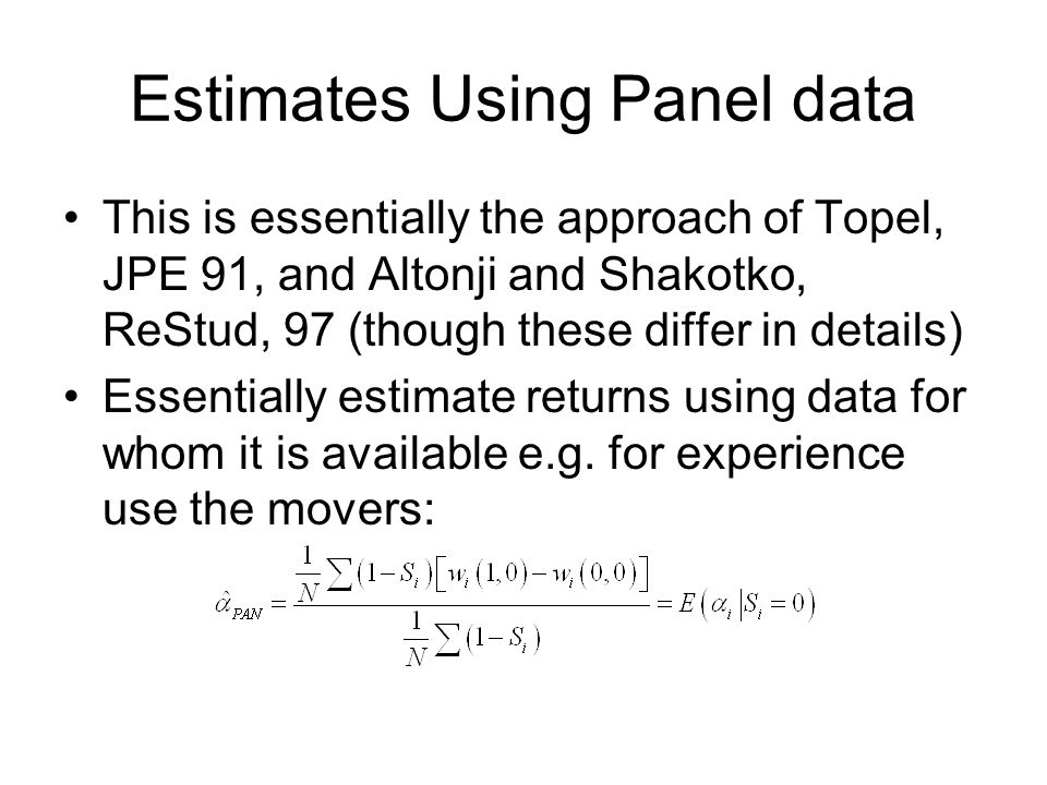 Estimates Using Panel data