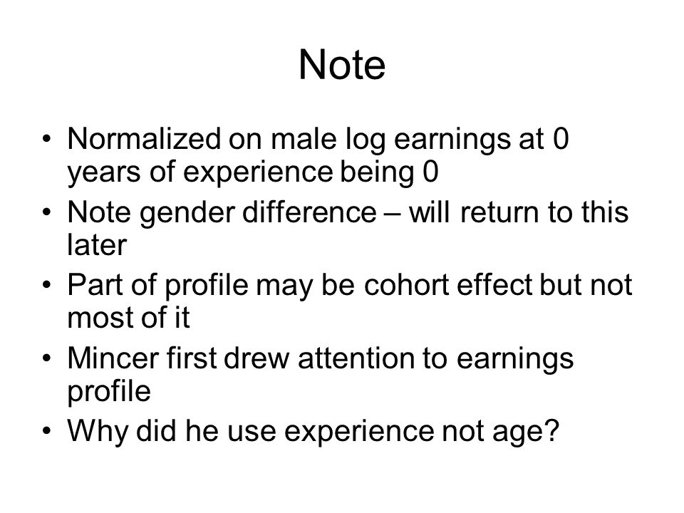 Note Normalized on male log earnings at 0 years of experience being 0