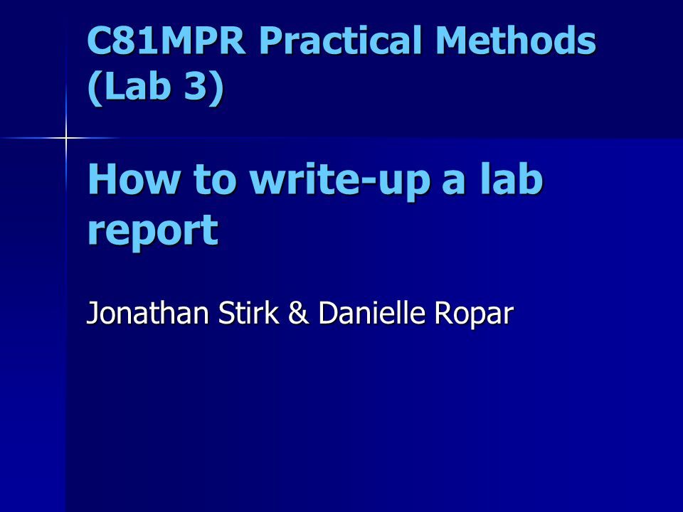 methods in a lab report