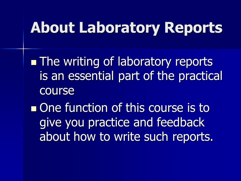 About Laboratory Reports