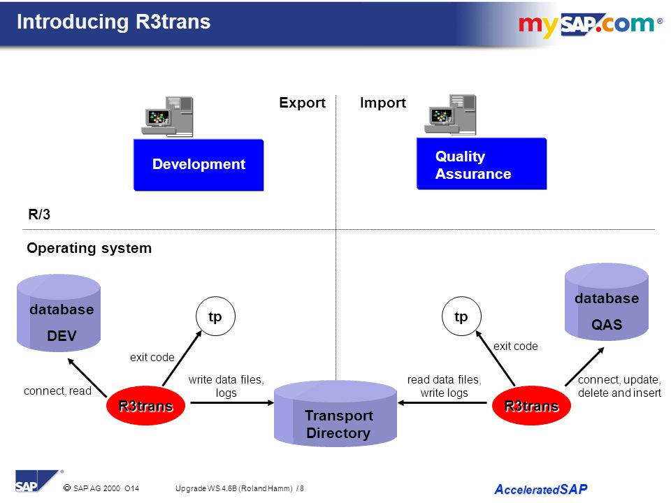 Introducing R3trans Export Import Quality Assurance Development R/3