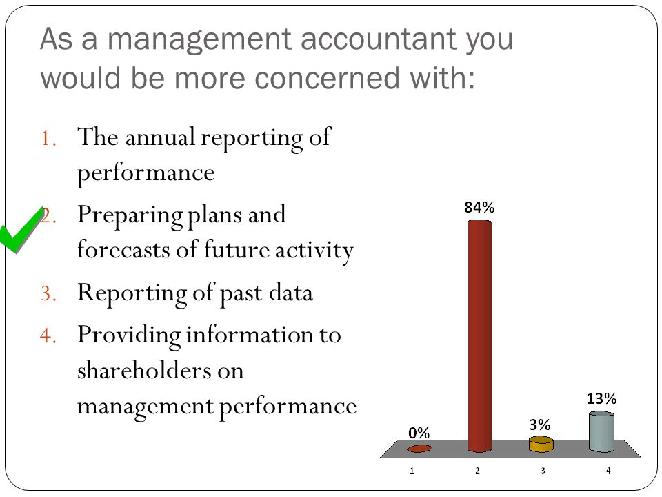 As a management accountant you would be more concerned with:
