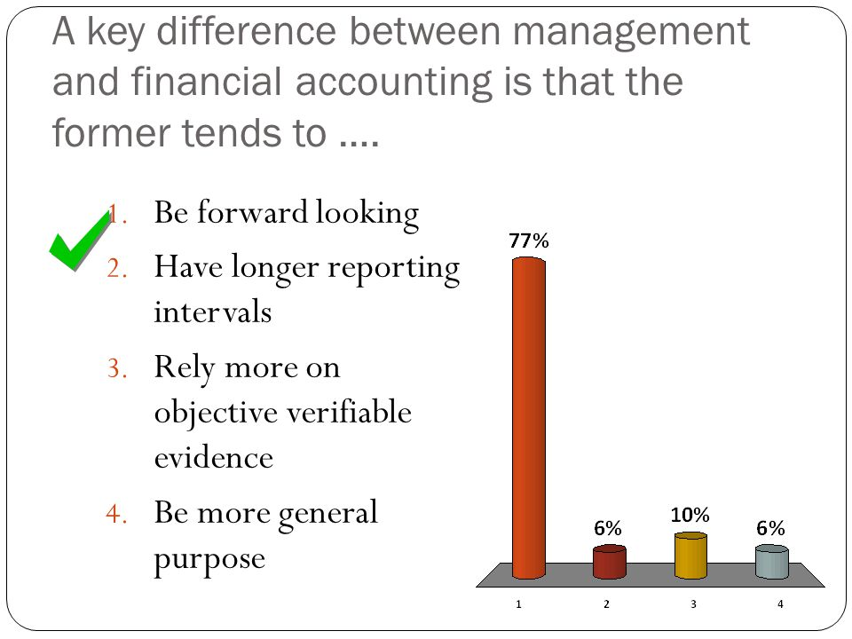 A key difference between management and financial accounting is that the former tends to ….