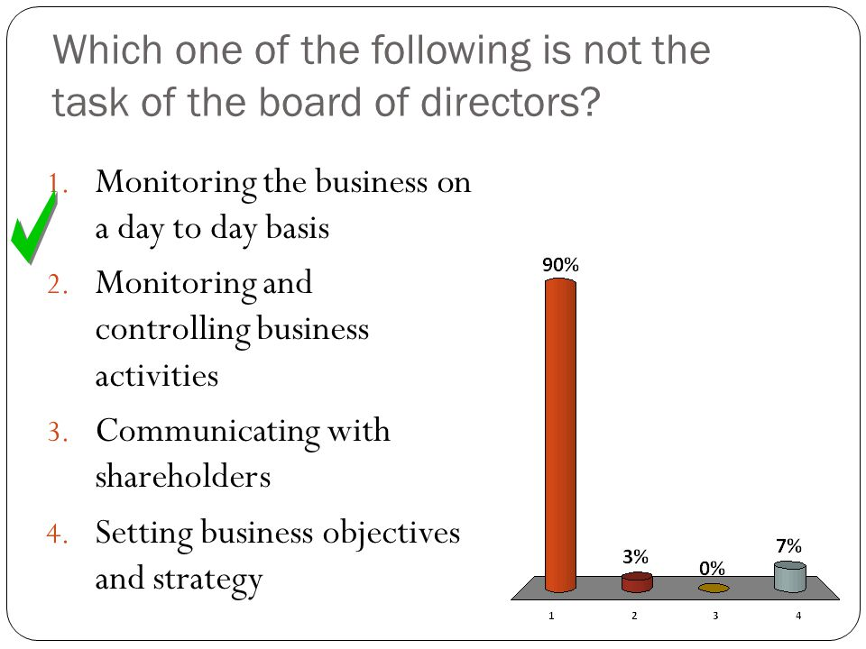 Which one of the following is not the task of the board of directors