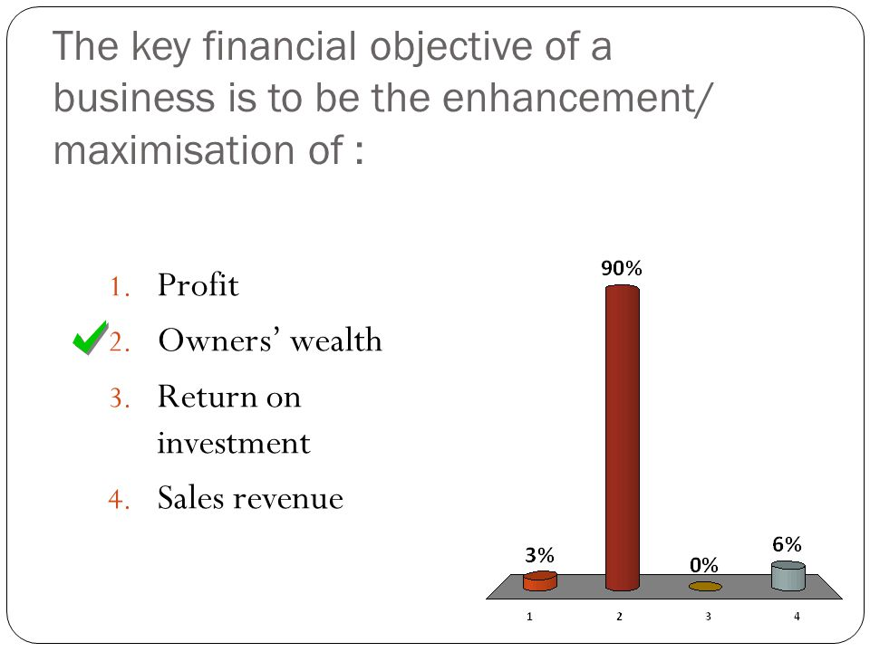 The key financial objective of a business is to be the enhancement/ maximisation of :