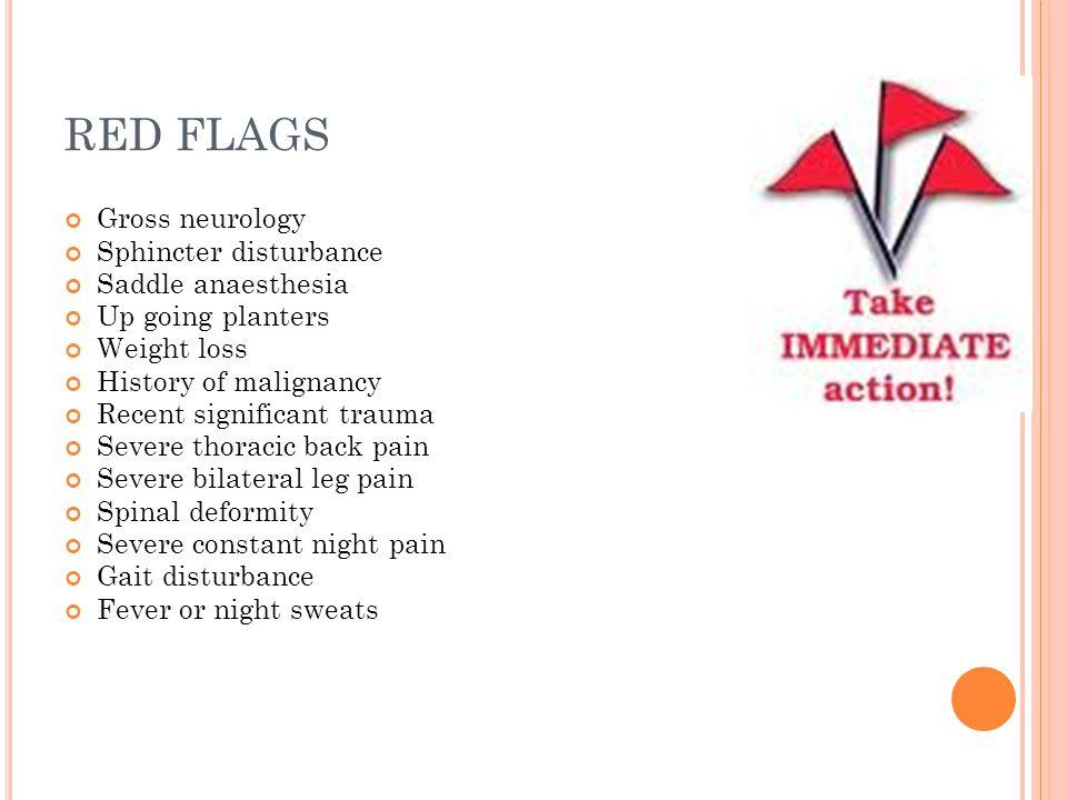 RED FLAGS Gross neurology Sphincter disturbance Saddle anaesthesia