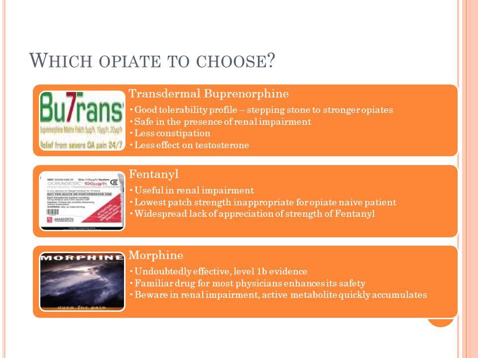 Which opiate to choose Transdermal Buprenorphine Fentanyl Morphine