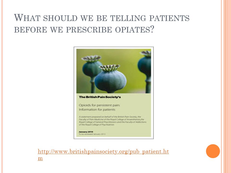 What should we be telling patients before we prescribe opiates
