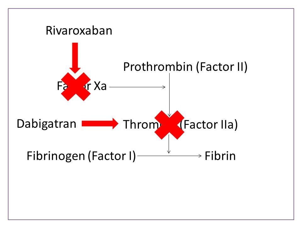 Rivaroxaban Prothrombin (Factor II) Factor Xa Thrombin (Factor IIa) Fibrinogen (Factor I) Fibrin Dabigatran.