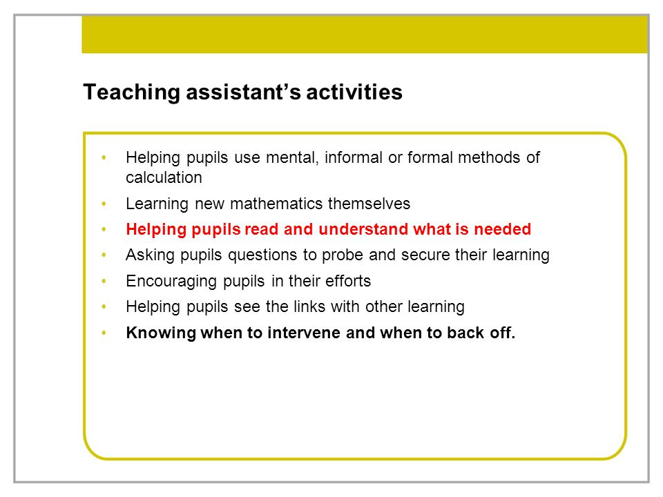 Teaching assistant's activities