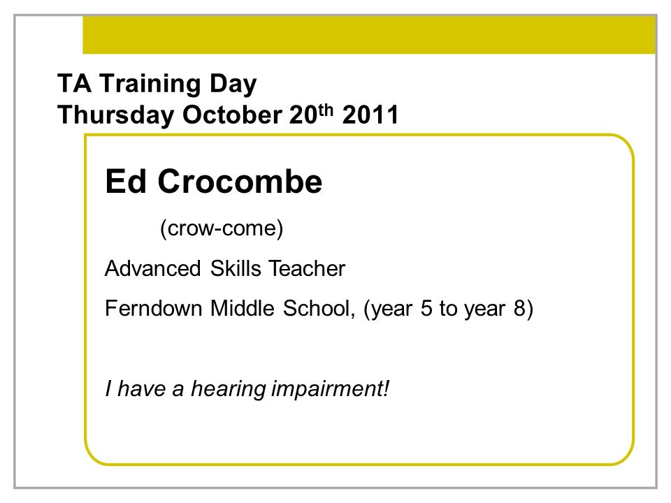 TA Training Day Thursday October 20th 2011