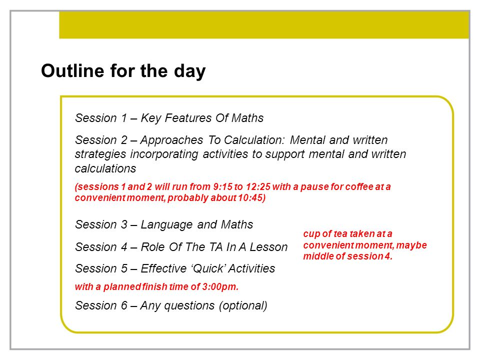 Outline for the day Session 1 – Key Features Of Maths