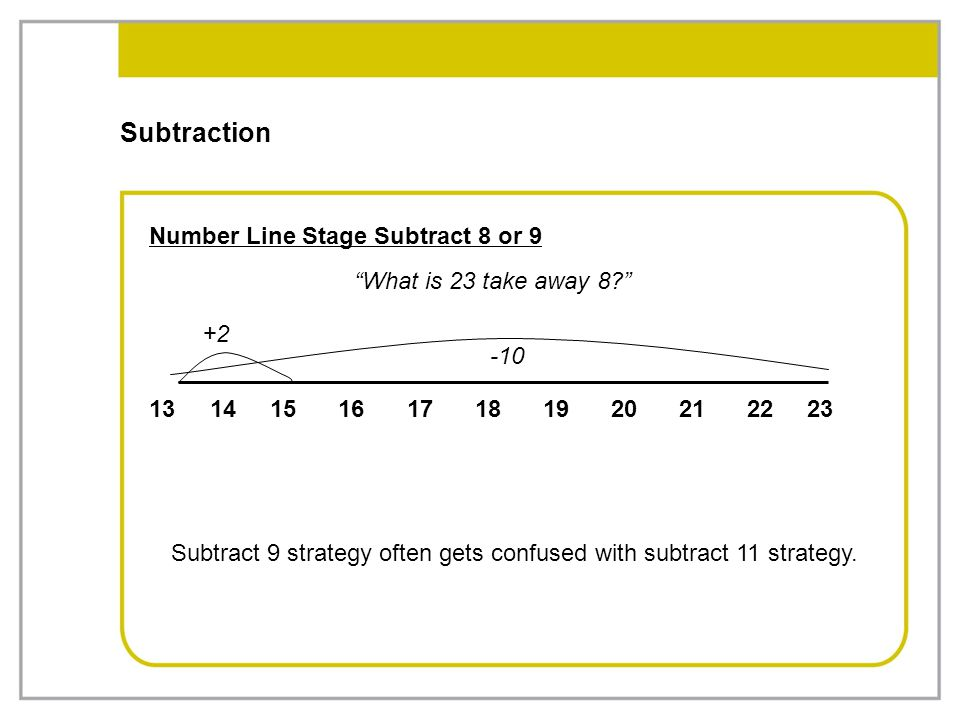 Subtract 9 strategy often gets confused with subtract 11 strategy.