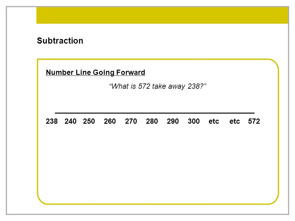 Subtraction Number Line Going Forward What is 572 take away 238 238