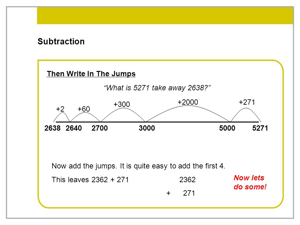 Subtraction Then Write In The Jumps What is 5271 take away 2638
