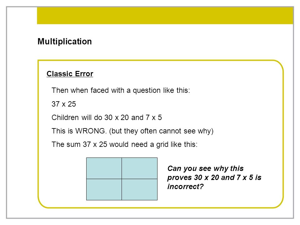 Multiplication Classic Error
