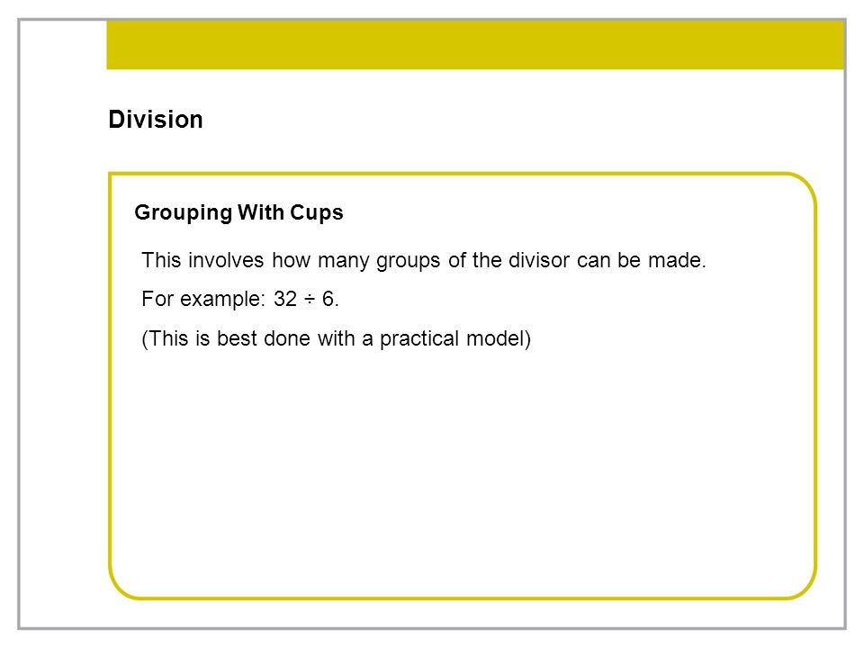Division Grouping With Cups