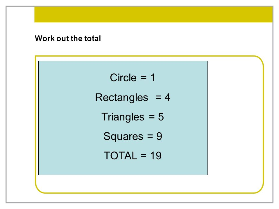 Circle = 1 Rectangles = 4 Triangles = 5 Squares = 9 TOTAL = 19