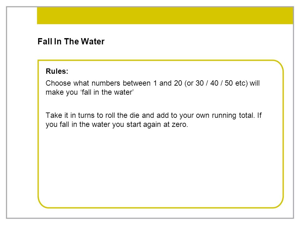 Fall In The Water Rules: