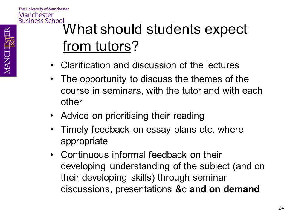 What should students expect from tutors