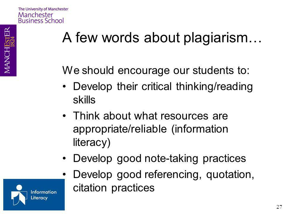 A few words about plagiarism…