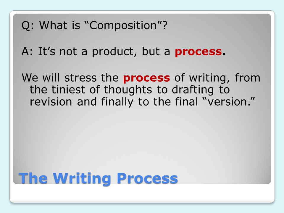 Q: What is Composition . A: It's not a product, but a process
