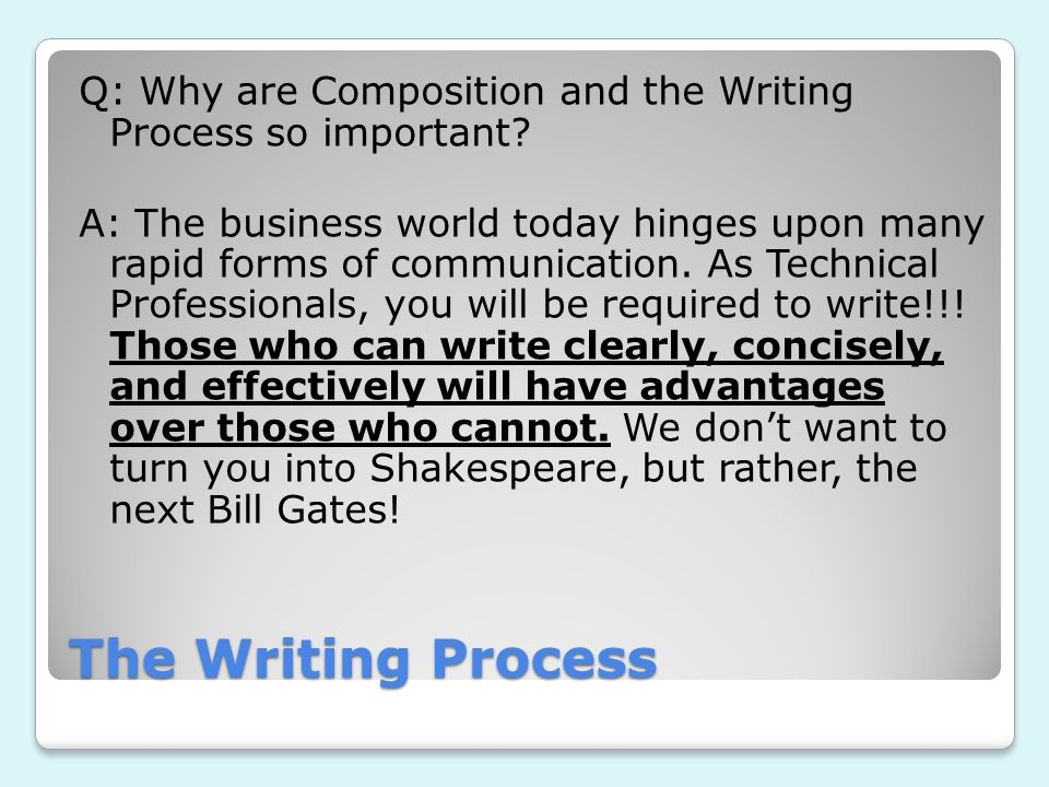 Q: Why are Composition and the Writing Process so important