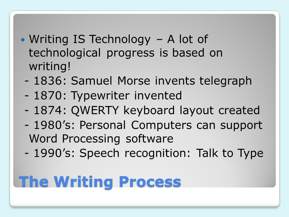 Writing IS Technology – A lot of technological progress is based on writing!