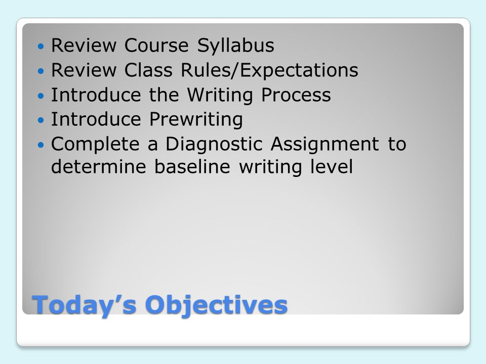 Today's Objectives Review Course Syllabus