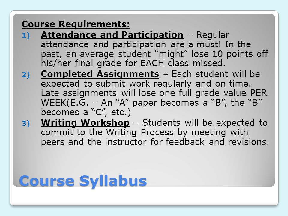 Course Syllabus Course Requirements: