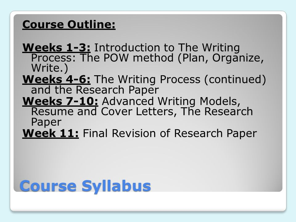Course Outline: Weeks 1-3: Introduction to The Writing Process: The POW method (Plan, Organize, Write.) Weeks 4-6: The Writing Process (continued) and the Research Paper Weeks 7-10: Advanced Writing Models, Resume and Cover Letters, The Research Paper Week 11: Final Revision of Research Paper