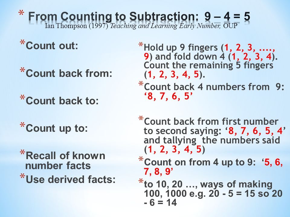 From Counting to Subtraction: 9 – 4 = 5