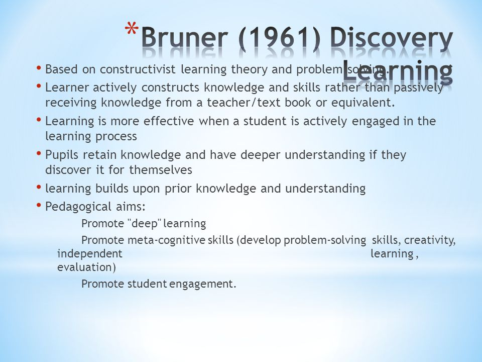 Bruner (1961) Discovery Learning