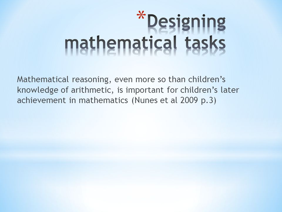 Designing mathematical tasks