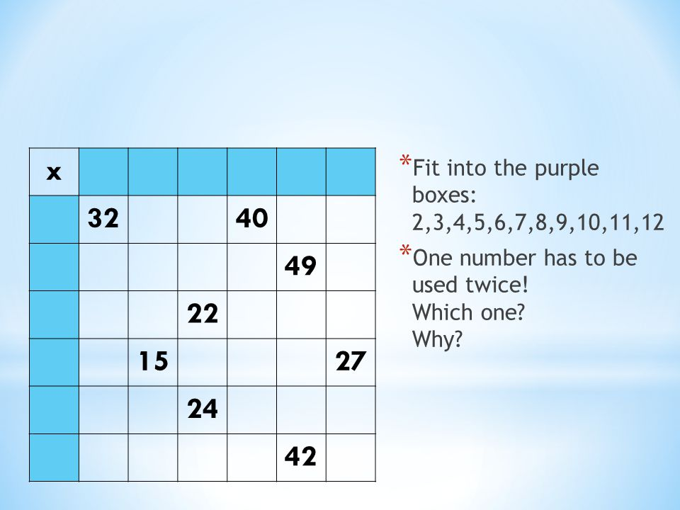 x 32. 40. 49. 22. 15. 27. 24. 42. Fit into the purple boxes: 2,3,4,5,6,7,8,9,10,11,12.