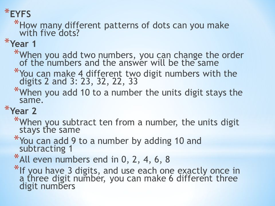EYFS How many different patterns of dots can you make with five dots Year 1.