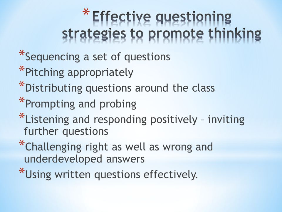 Effective questioning strategies to promote thinking