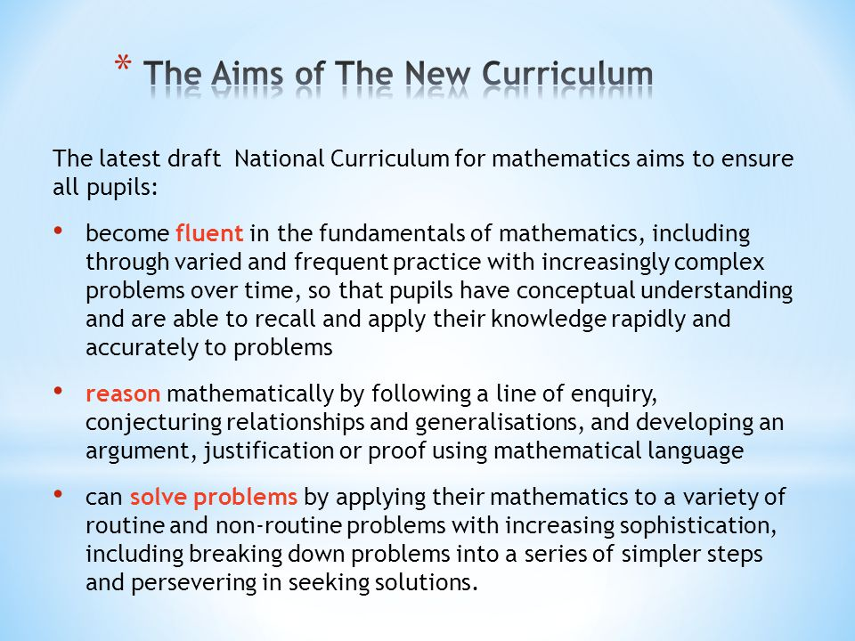 The Aims of The New Curriculum
