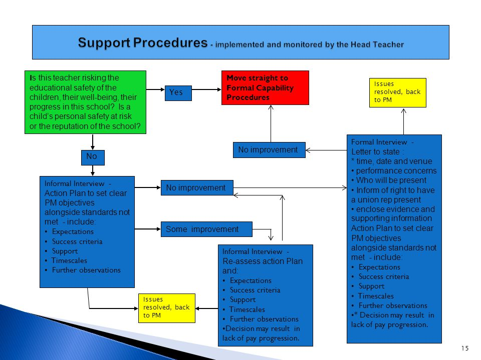 Support Procedures - implemented and monitored by the Head Teacher