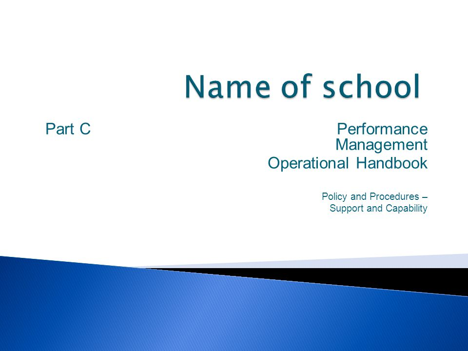 Name of school Part C Performance Management Operational Handbook