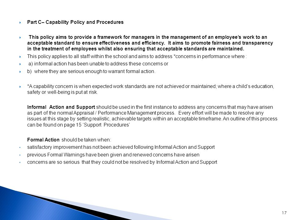 Part C– Capability Policy and Procedures