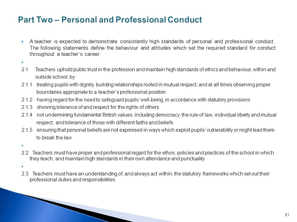 Part Two – Personal and Professional Conduct