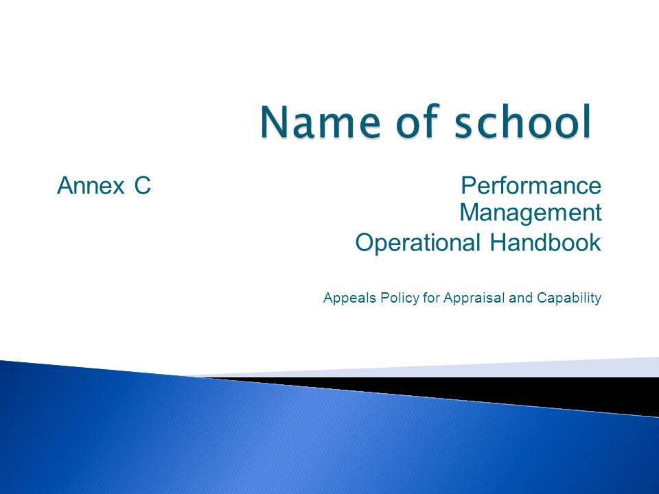 Name of school Annex C Performance Management Operational Handbook