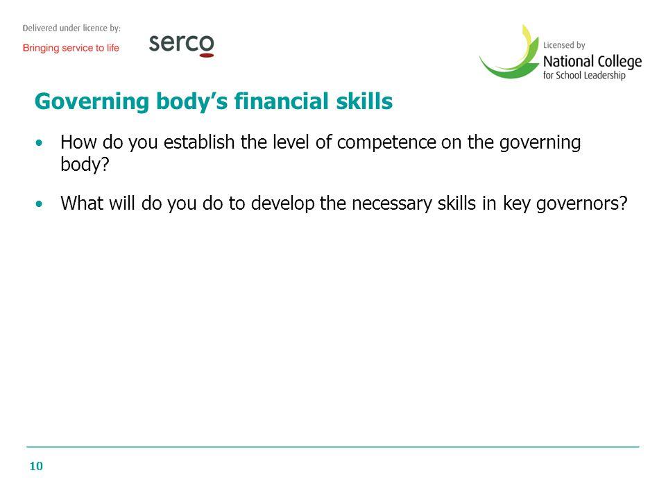 Governing body's financial skills