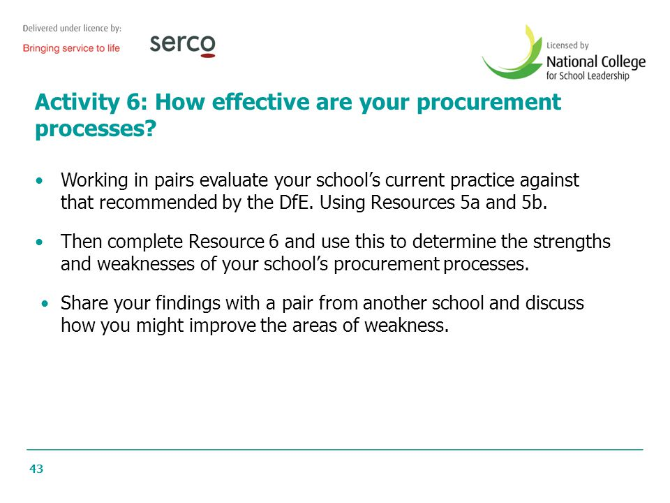 Activity 6: How effective are your procurement processes