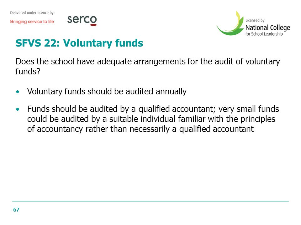 SFVS 22: Voluntary funds Does the school have adequate arrangements for the audit of voluntary. funds
