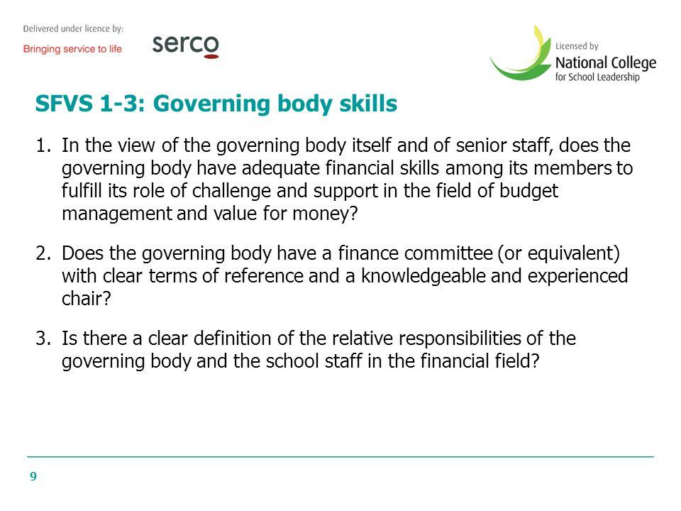 SFVS 1-3: Governing body skills